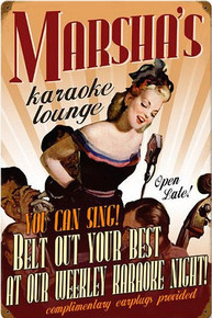 PERSONALIZED KARAOKE LOUNGE  (Sublimation Process) Vintage metal Sign with rusted corners for weathered look   S/O