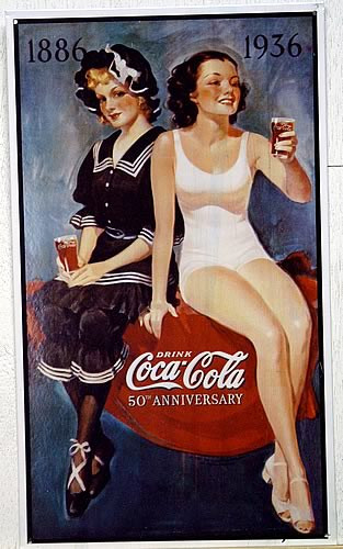 Photo of COKE COCA-COLA BATHING BEAUTIES IS A COPY OF A  5OTH ANNIVERSARY SIGN CELEBRATING 1886 - 1936  HOW SWIMSUITS HAVE CHANGED!!