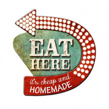 3-D EAT HERE SIGN (Sublimation Process) Vintage metal Sign (not electric) S/O