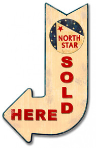 """Heavy Metal Sublimation Process ARROW POINTS DOWN AND TO THE Left Sign, with round logo near the top.  measures: 15"""" x 24"""" & weighs apox. 3 lbs.  With holes for easy mounting.  This is a Special Order sign that normally takes from 2-4 weeks to ship."""