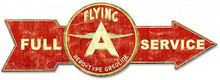 FULL SERVICE FLYING A AERO-TYPE GASOLINE ARROW Sublimation Process Vintage WEATHERED LOOK Metal Sign S/O