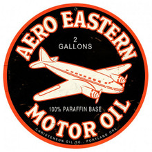 "AERO EASTERN MOTOR OIL 28""  ROUND SUBLIMATION PROCESS METAL SIGN  S/O"