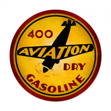 "400 AVIATION DRY GASOLINE 14"" ROUND SUBLIMATION PROCESS METAL SIGN  S/O"