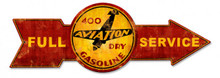 FULL SERVICE 400 AVIATION DRY GASOLINE ARROW Sublimation Process Vintage Metal Sign S/O