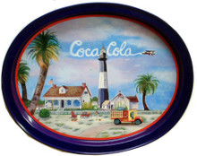 Photo of COKE, HISTORY  of  TYBEE LIGHT HOUSE METAL TRAY HAS THE HISTORY ON THE BACK