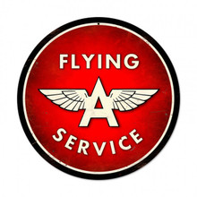 "FLYING A SERVICE 28"" ROUND SUBLIMATION PROCESS METAL SIGN  S/O"