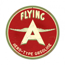 "FLYING A AERO-TYPE GASOLINE 14"" ROUND SUBLIMATION PROCESS METAL SIGN  S/O"