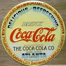 Photo of COKE KEG TOP ROUND SIGN WAS USED ON THE ENDS OF KEGS OF COCA-COLA SYRUP, NOT OFTEN SEEN BY THE PUBLIC HAS GREAT COLOR AND DETAIL