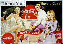 Photo of COKE LADIES, THIS COCA-COLA SIGN HAS THAT LATE 1940'S POSSIBLY EARLY 50'S LOOK WITH GREAT GRAPHICS AND COLOR