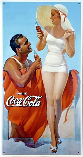 Photo of COKE MAN & WOMAN ON BEACH ENJOYING A COCA-COLA LOOKS LIKE AN EARLY 40'S SIGN WITH GREAT COLOR AND RICH DETAILS
