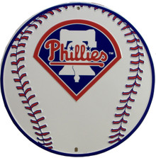 "ROUND ALUMINUM BASEBALL SIGN MEASURES 12"" DIAMETER WITH HOLE(S) FOR EASY MOUNTING"