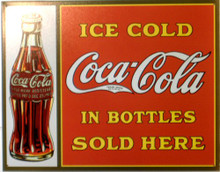 Photo of COKE SOLD IN BOTTLES HAS THAT MUTED OLD TIME LOOK WITH GREAT DETAILS IN THIS SIGN