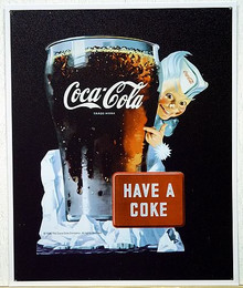 Photo of COKE SPIRITE BOY #1 WHITE SIGN, A COCA-ADD ICON FROM THE 1950'S HAS GREAT DETAIL AND RICH COCA-COLA COLORS