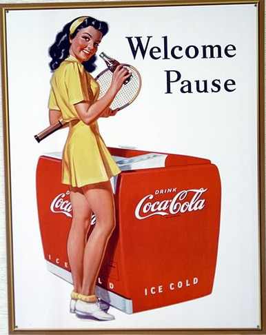 Photo of COKE TENNIS GIRL BY THE COCA-COLA COOLER HAS DELIGHTFUL COLOR AND SHARP GRAPHICS