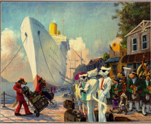MAD PIPER DOGS & CATS AT SHIPS PIER BIRCH WOOD PRINT S/O