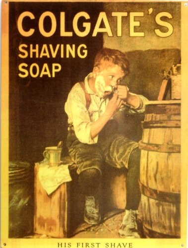 "COLGATE ""HIS FIRST SHAVE"" ENAMEL SIGN HAS RICH WARM COLOR AND DETAILS"