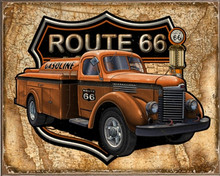 GAS TRUCK MAP ROUTE 66 BIRCH WOOD PRINT S/O