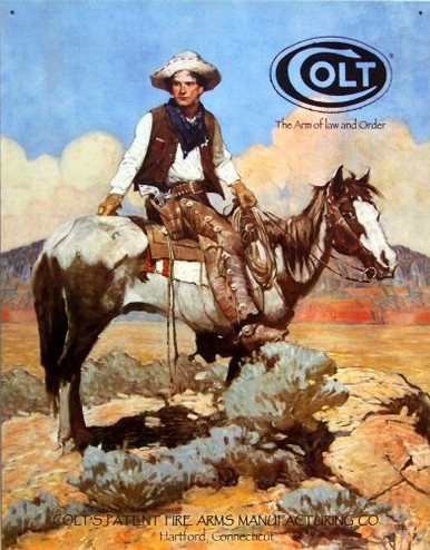 Photo of COLT TEX AND PATCHES AN OLD WEST LOOK TO THIS AD WITH GREAT COLOR AND GRAPHICS