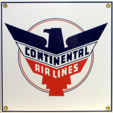 Photo of CONTINENTAL AIRLINES SQUARE PORCELAIN SIGN, WITH THE CONTINENTAL EAGLE GREAT CONTRAST AND COLORS