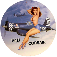 Photo of CORSAIR FRU ROUND HEAVY DUTY METAL SIGN WITH TOPLESS WING RIDER, GREAT COLORS AND DETAILS