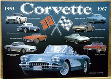 Photo of CORVETTE COLLAGE SIGN FROM 1953 THRU 1967 GREAT CARS, GREAT DETAILS AND COLOR