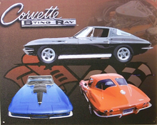 CORVETTE STING RAY WITH FRONT BACK AND SIDE VIEW OF THREE DIFFERENT CARS, DEEP RICH COLORS AND GRAPHICS