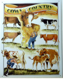 Photo of COWS - BATES  COW COUNTRY SIGN WITH GREAT DRAWINGS OF DIFFERENT COW BREEDS WARM RICH COLORS AND VERY NICE GRAPHICS