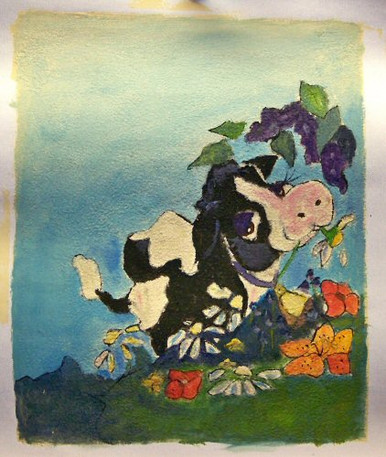Photo of COW WITH FLOWER SMALL SIZED OIL PAINTING