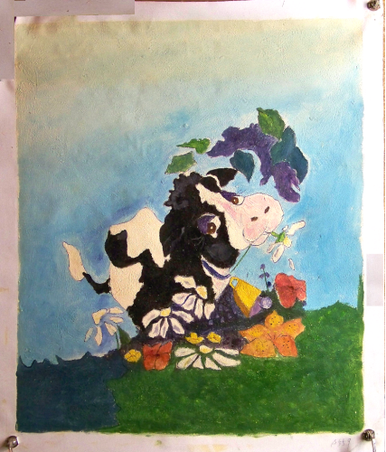 Photo of COW WITH FLOWERS MEDIUM SIZED OIL PAINTING