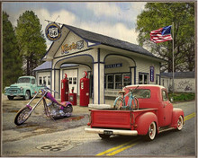 RT 66 GAS STATION VINTAGE BIRCH WOOD PRINT S/O