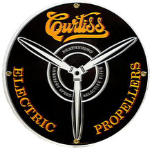 Photo of CURTIS PORCELAIN SIGN ADVERTISING ELECTRIC PROPELLERS, GREAT GRAPHICS