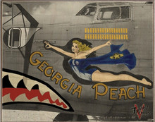 GEORGIA PEACH BOMBER NOSE ART BIRCH WOOD PRINT S/O