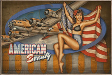 AMERICAN BEAUTY VINTAGE B-17 NOSE ART AIR FORCE  BIRCH WOOD PRINT S/O