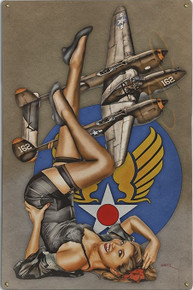 "BEAUTIFUL LIGHTNING ""P-38"" AIR FORCE  NOSE ART VINTAGE METAL SIGN S/O"