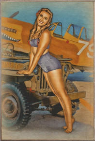 CAN I HITCH A RIDE JEEP  NOSE ART VINTAGE  AIR FORCE  BIRCH WOOD PRINT S/O