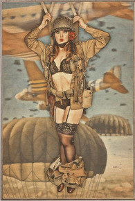 "CAUGHT WITH HER PANTS DOWN VINTAGE ""PARATROOPER"" BIRCH WOOD PRINT S/O"