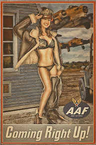 COMING RIGHT UP VINTAGE  NOSE ART  AIR FORCE BIRCH WOOD PRINT S/O
