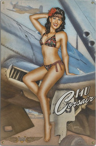 CORSAIR CUTIE VINTAGE  NOSE ART  AIR FORCE METAL SIGN S/O