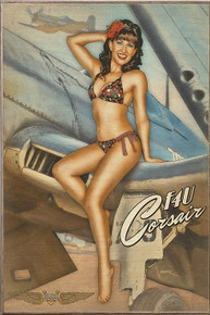 CORSAIR CUTIE VINTAGE  NOSE ART AIR FORCE  BIRCH WOOD PRINT S/O
