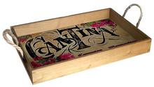 """Our Solid Wood Trays are finished with a natural stain and come with jute rope handles. These gorgeous trays are decorated with a full color birch wood insert and are a beautiful and functional addition to your living room, dining room kitchen or bar. Featuring art from our world-renowned licensees, these trays are a must-have! They measure 12"""" x 18"""" x 2 1/2"""" deep."""