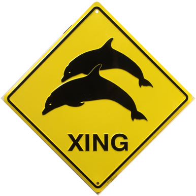 DOLPHIN XING SIGN GREAT SIGN FOR THE BEACH OR NEAR THE AQUARIUM OR FOR ANY PLACE THE DOLPHIN LOVER CHOOSES