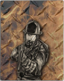 DIAMOND PLATE FIREFIGHTER METAL SIGN S/O