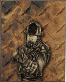 DIAMOND PLATE FIREFIGHTER BIRCH  WOOD PRINT S/O