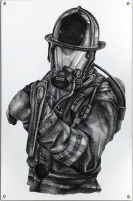 BLACK & WHITE FIREFIGHTER METAL SIGN S/O