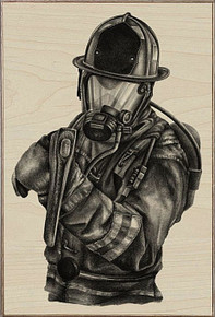 BLACK & WHITE FIREFIGHTER  BIRCH WOOD PRINT S/O