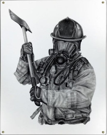 BLACK & WHITE FIREFIGHTER W/AXE METAL SIGN S/O