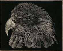 BLACK & WHITE FIREFIGHTER EAGLE  BIRCH WOOD PRINT S/O