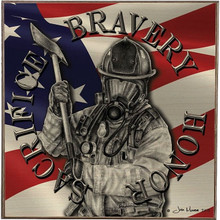 BRAVERY HONOR, FIREFIGHTERS  BIRCH WOOD PRINT S/O