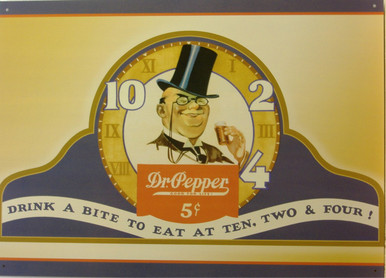DR. PEPPER SIGN, OLD TIME GRAPHICS, DRINK A BITE TO EAT AT 10, 2, AND 4.  (NOT SURE ON THAT ADD???)