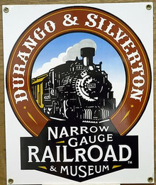 Photo of DURANGO & SILVERTON RAILROAD MUSEUM PORCELAIN SIGN FOR THE NARROW GAUGE RAILROAD HAS DEEP COLORS AND IRON HORSE DETAILS